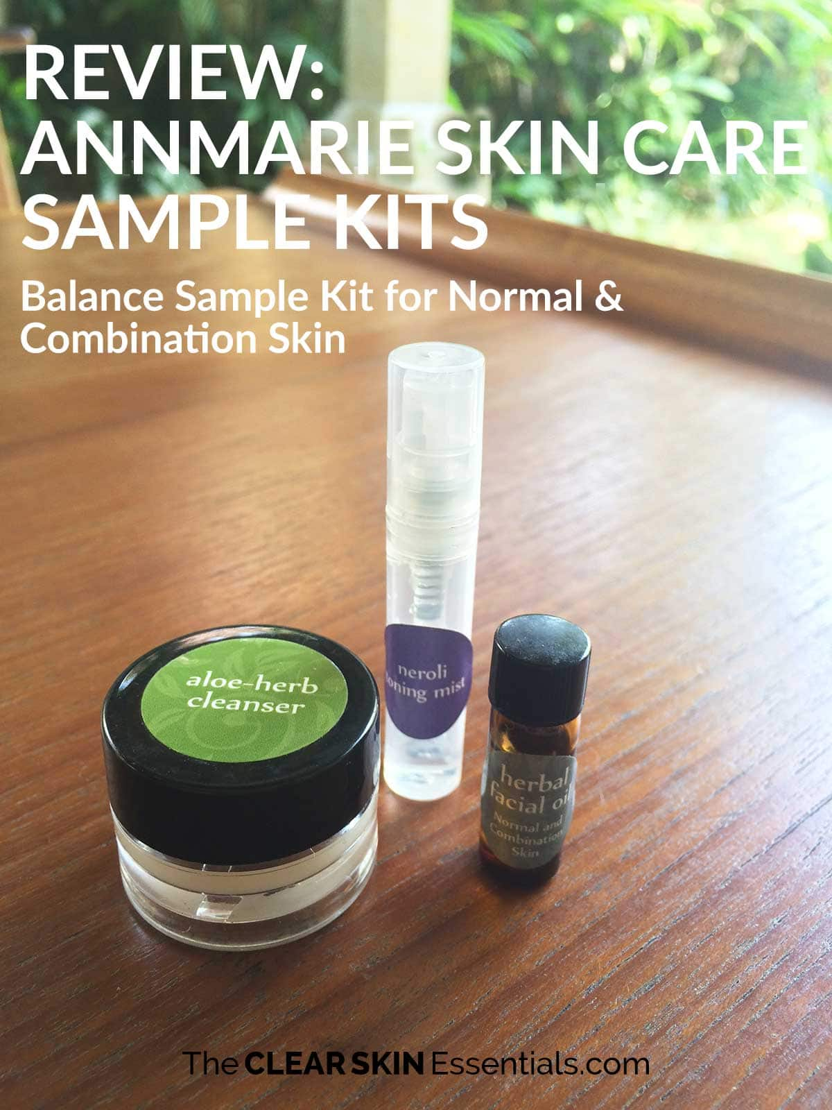 Review of Annmarie Skin Care Sample Kits featuring Neroli Toning Mist, Aloe Herb Cleanser, and Facial Oil For Normal Combination Skin.