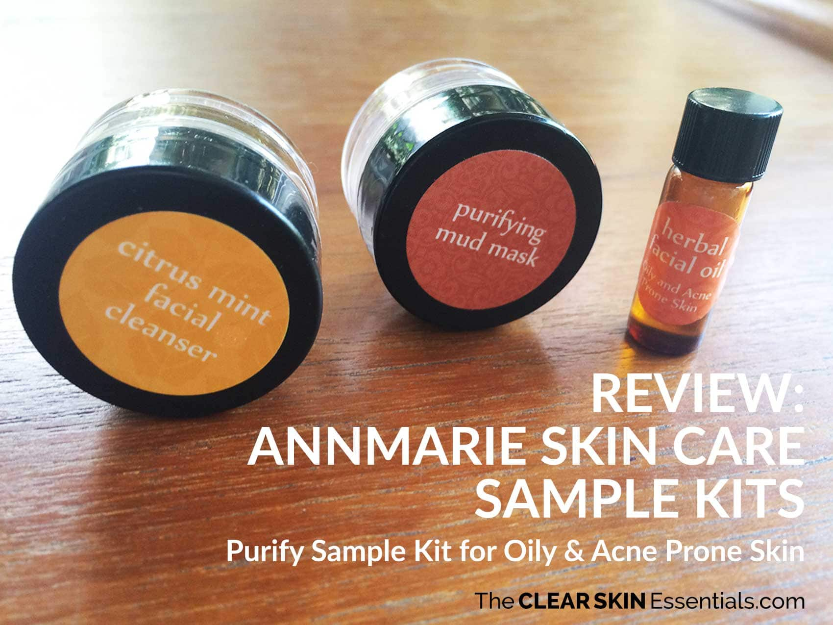 Review of Annmarie Skin Care Sample Kits featuring Citrus Mint Facial Cleanser, Purifying Mud Mask, Herbal facial Oil for Oily And Acne Prone Skin.