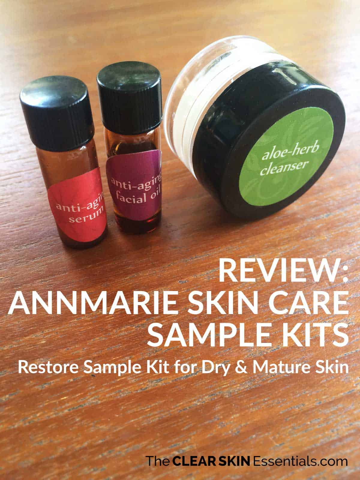 Review of Annmarie Skin Care Sample Kits featuring Aloe Herb Cleanser, Anti-Aging Facial Oil, and Anti-Aging Serum
