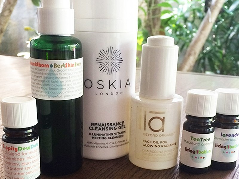 Natasha's natural skincare routine for acne and breakouts featuring products from Oskia, Living Libations, Ila Spa.