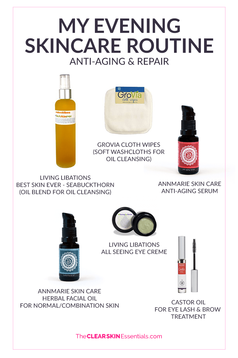 Natasha's evening natural anti-aging skincare routine featuring products from Living Libations, Annmarie Skin Care, and castor oil eye lash treatment.