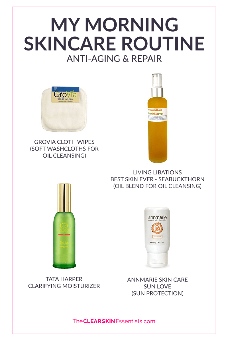 Natasha's morning anti-aging skincare routine featuring products from Living Libations, Tata Harper, and Annmarie Skin Care.
