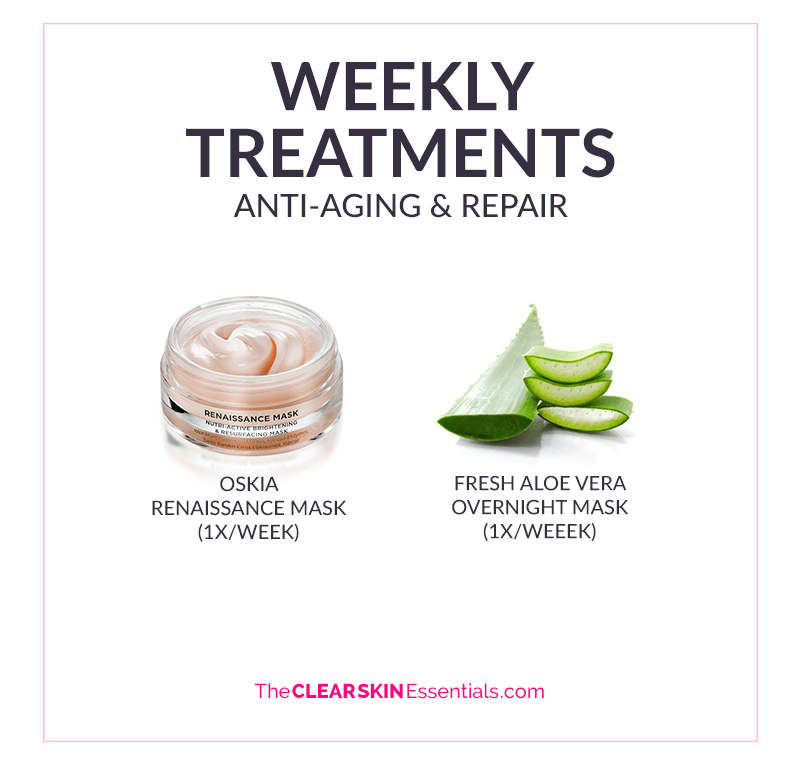 The weekly treatment products I use in my natural anti-aging skincare routine including fresh aloe vera gel and Oskia Renaissance Mask.