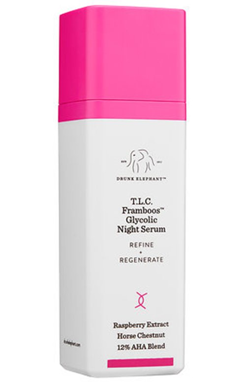 Fade acne scars with exfoliation, try Drunk Elephant T.L.C. Framboos Glycolic Night Serum.