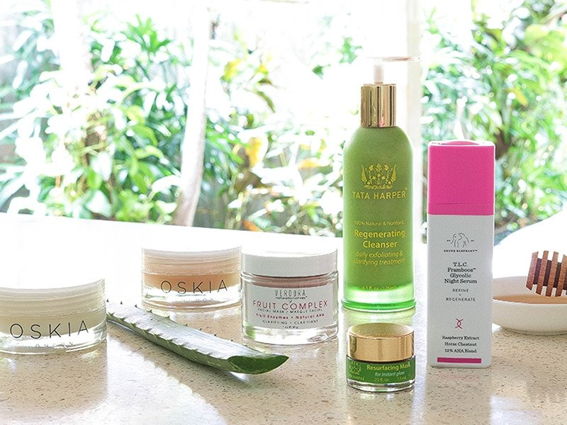 Learn how to fade acne scars with exfoliation featuring products from Tata Harper, Oskia, VERDURA naturalternatives and Drunk Elephant