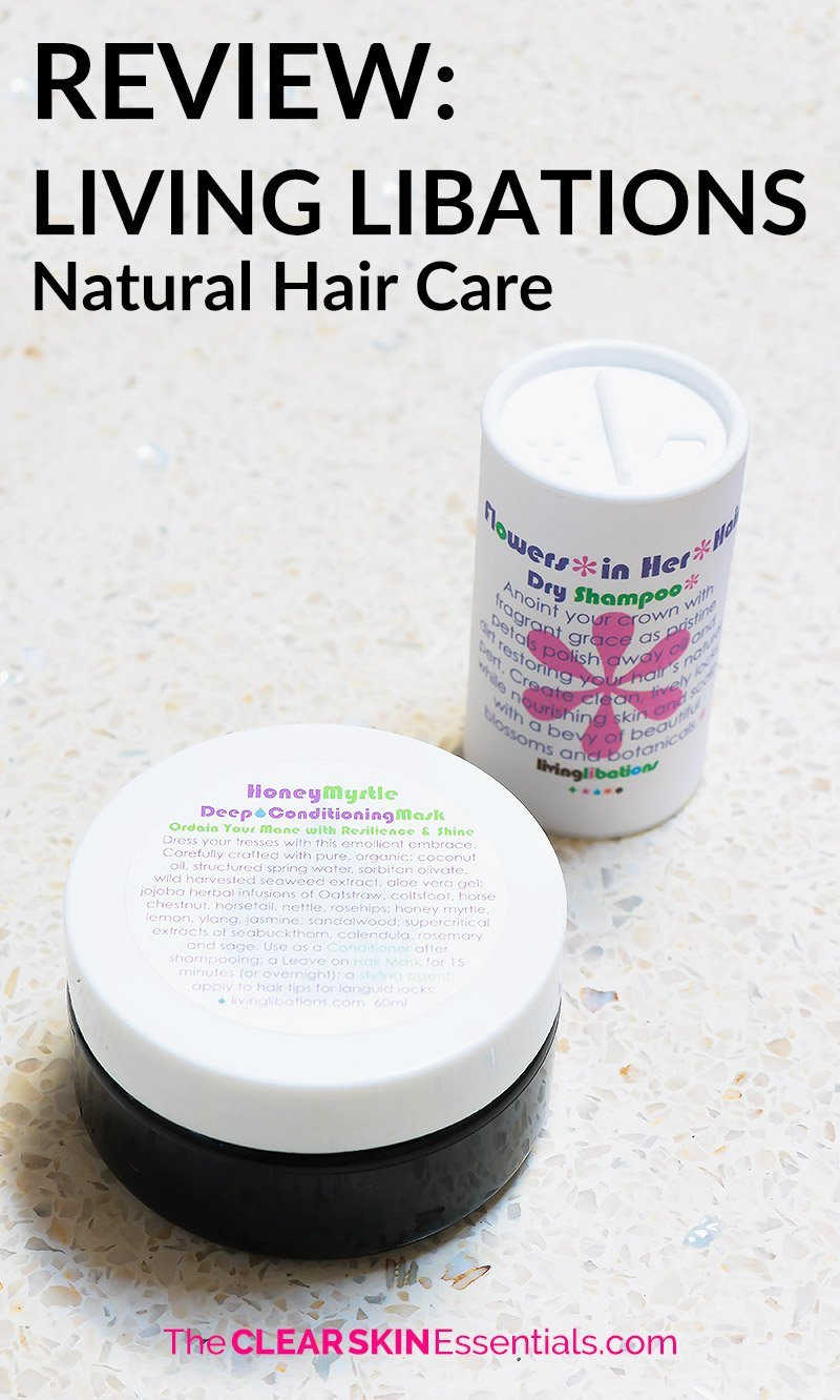 Review of Living Libations natural hair care line. Review includes Honey Myrtle Deep Conditioning Hair Mask and Flowers In Her Hair Dry Shampoo.