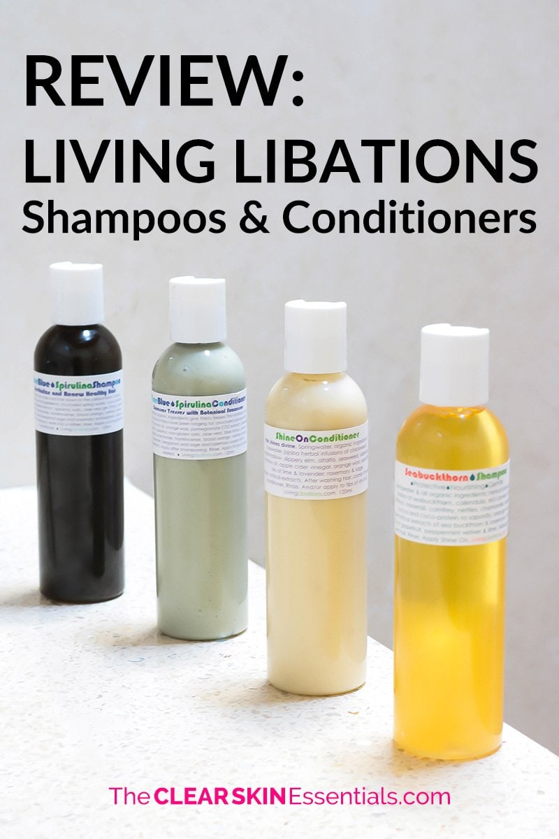Review of Living Libations natural hair care line. Review includes Seabuckthorn Shampoo, Shine On Conditioner, True Blue Shampoo & Conditioner.