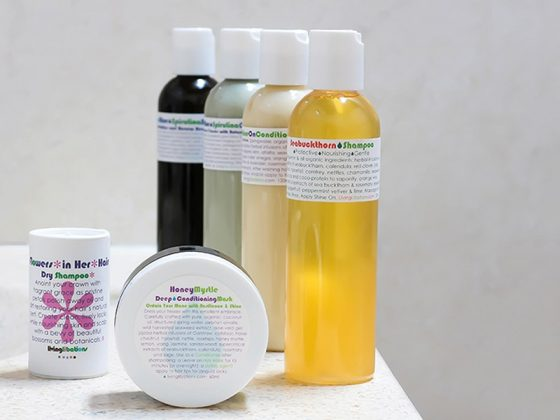 Review of Living Libations natural hair care line. Review of Seabuckthorn Shampoo, Shine On Conditioner, True Blue Shampoo & Conditioner, Honey Myrtle Deep Conditioning Hair Mask, Flowers In Her Hair Dry Shampoo.