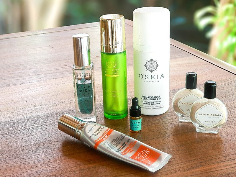 2017 Green Beauty Favourites review featuring products from Tata Harper, Oskia, Suntegrity, Annmarie Skin Care, VERDURA naturalternatives, and Uma Oils.