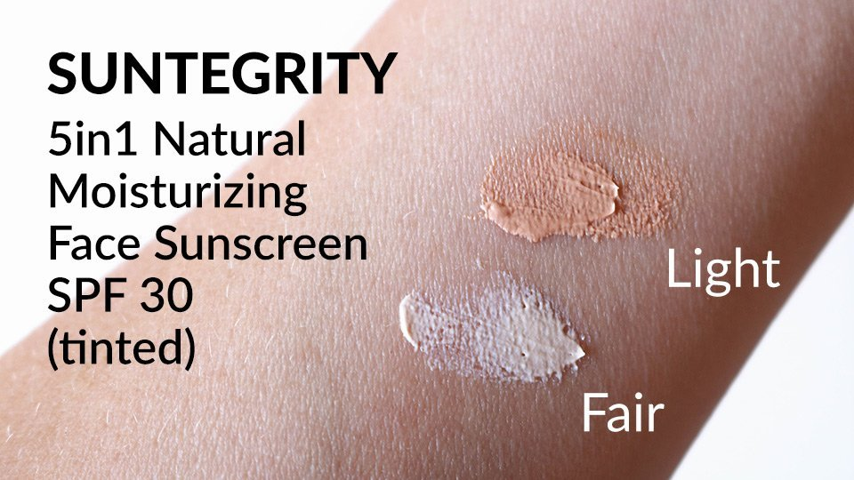 Swatches of Suntegrity 5in1 Natural Moisturizing Face Sunscreen SPF 30 in shades Fair and Light.
