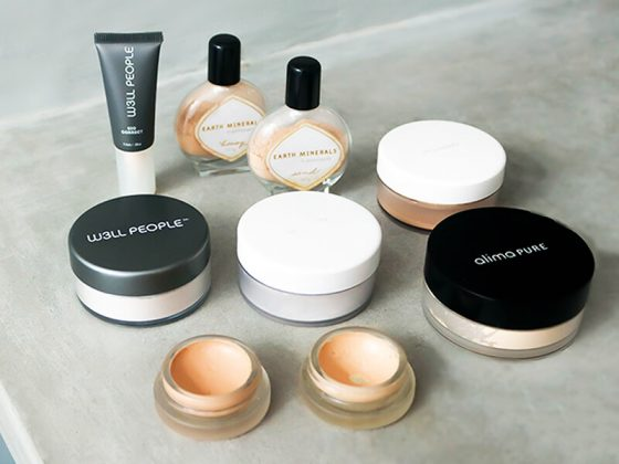 Clean beauty makeup review of foundations, concealers and powders from Annmarie Skin Care, W3LL People, Alima Pure, and RMS Beauty.