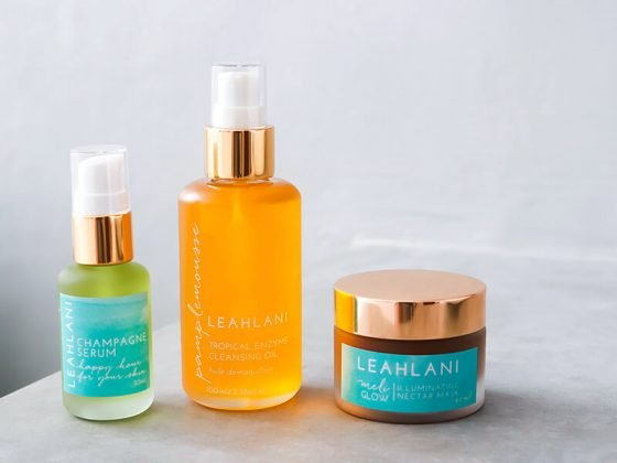Leahlani Skincare review featuring Pamplemousse Tropical Enzyme Cleansing Oil, Happy Hour Serum (Champagne Serum), and Meli Glow Illuminating Nectar Mask.