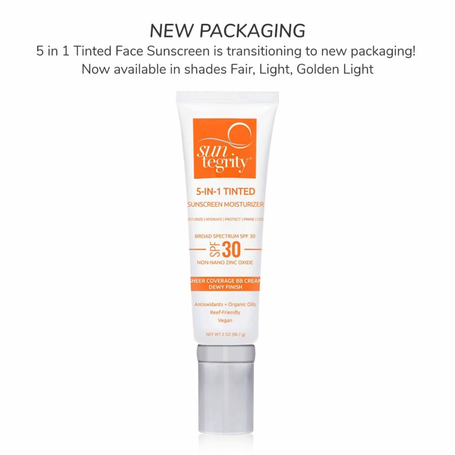 Suntegrity 5 in 1 Tinted Face Sunscreen in new white packaging available in shades fair, light and golden light.