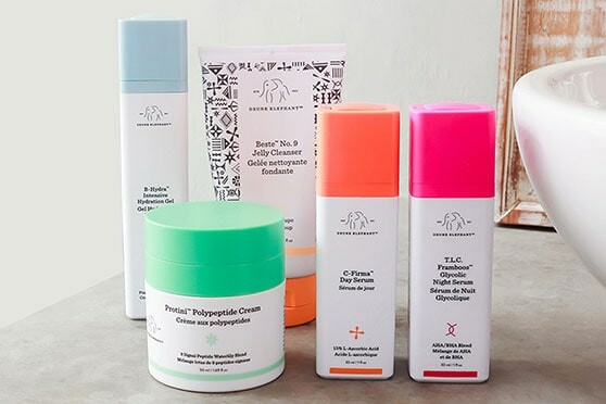 Drunk Elephant review featuring Protini Polypeptide Cream, Beste No.9 Jelly Cleanser, B-Hydra, TLC Framboos Glycolic Night Serum