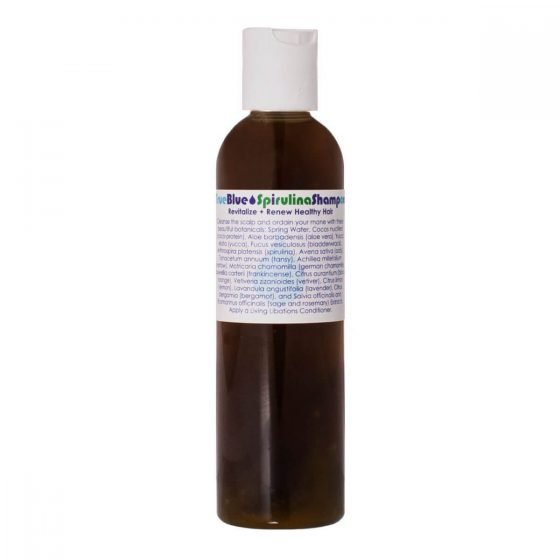 Living Libations True Blue Spirulina Shampoo brings volume, lustre and shine to dull lifeless hair.