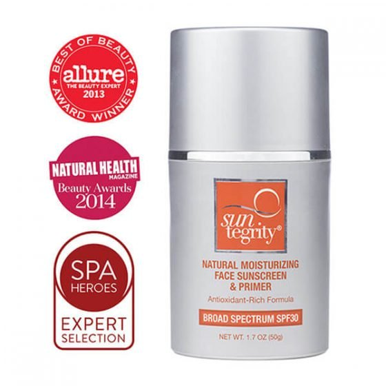 Suntegrity Natural Moisturizing Face Sunscreen & Primer has won numerous awards from Allure, Spa Heroes, and Natural Health Magazine