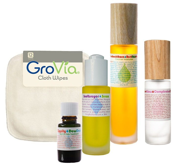 Recommended products for dry or combination + acne prone, featuring Living Libations, GroVia