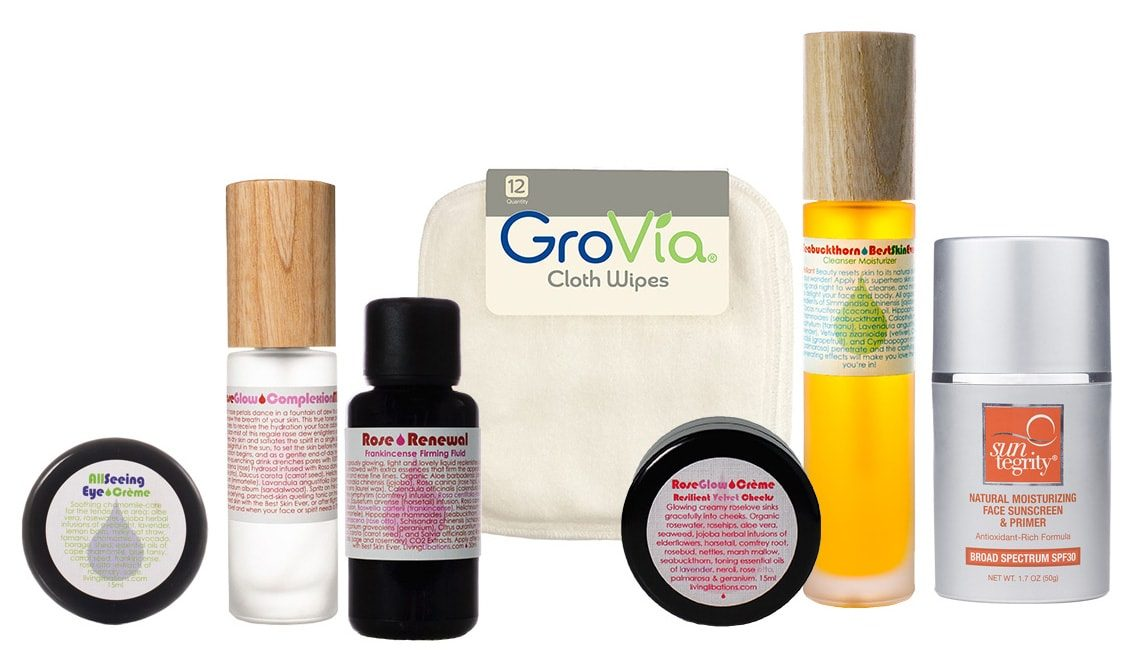 recommendations for maturing skin and anti aging featuring Living Libations, Suntegrity, GroVia