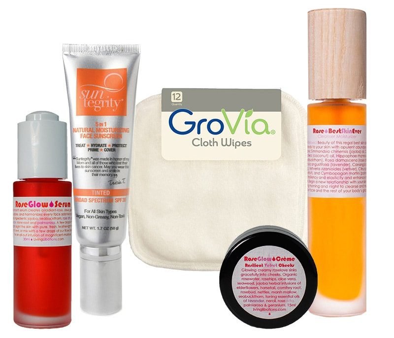 recommendations for dry and sensitive skin featuring Living Libations, Sunegrity, GroVia