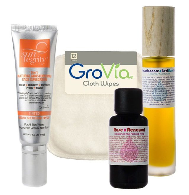 recommendations for hyperpigmentation featuring Living Libations, Suntegrity, GroVia