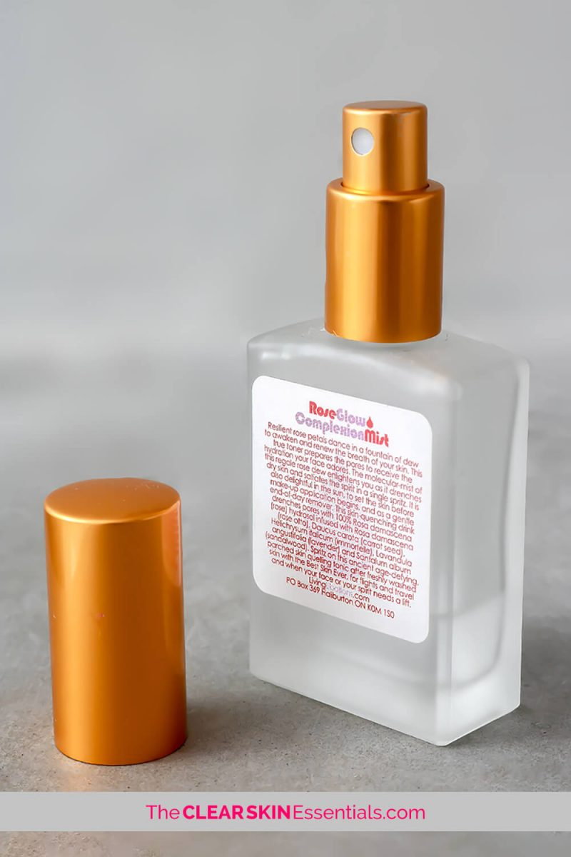Review of Living Libations RoseGlow Complexion Mist for sensitive, acne prone, and dehydrated skin types