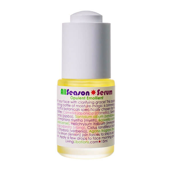 Living Libations All Season Serum is an ultra lightweight, fast absorbing moisturizing oil serum especially balancing for oily, combination and acne prone skin.
