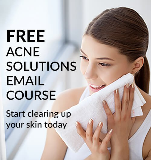 Sign-up for the free Acne Solutions Email Course to learn how to clear up acne and breakouts naturally through diet and skincare.