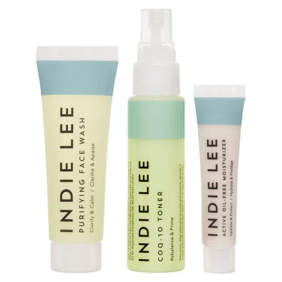 Indie Lee Clarity Kit contains travel size Purifying Face Wash, CoQ-10 Toner, and Active Oil-Free Moisturizer. This kit is ideal for normal, combination and oily skin.
