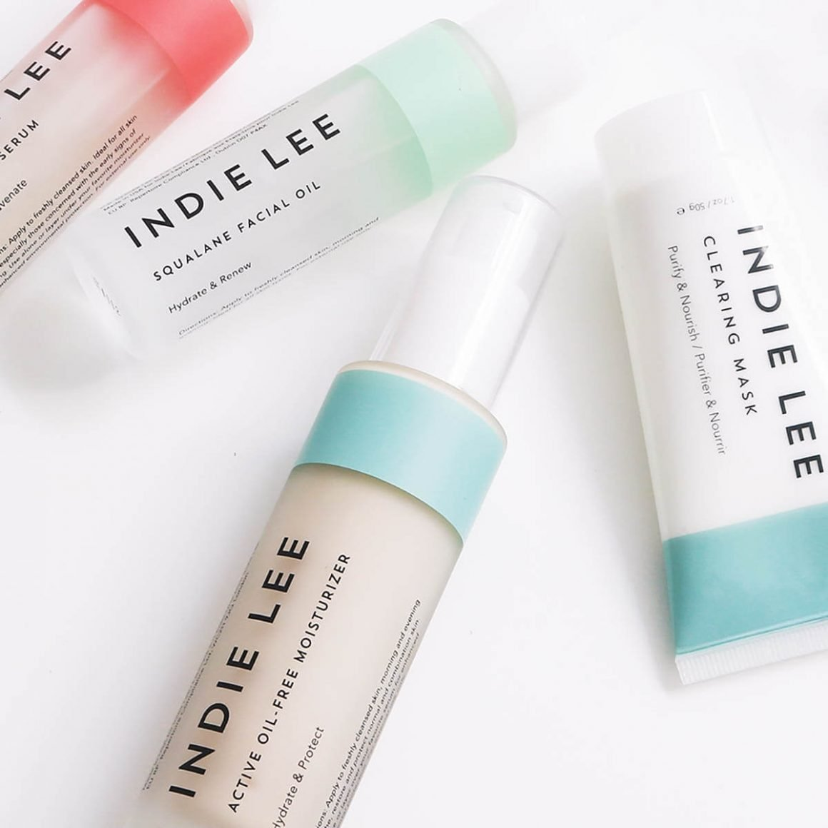 Indie Lee Stem Cell Serum, Squalane Oil, Oil-Free Moisturizer, Clearing Mask