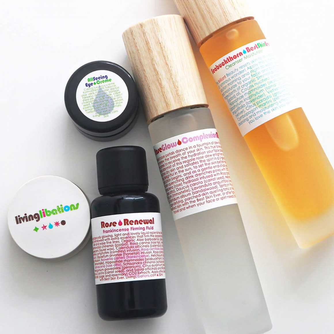 Shop Living Libations USA and Canada, Seabuckthorn Best Skin Ever, Rose Glow Creme, Rose Renewal, All Seeing Eye Creme, Rose Glow Complexion Mist