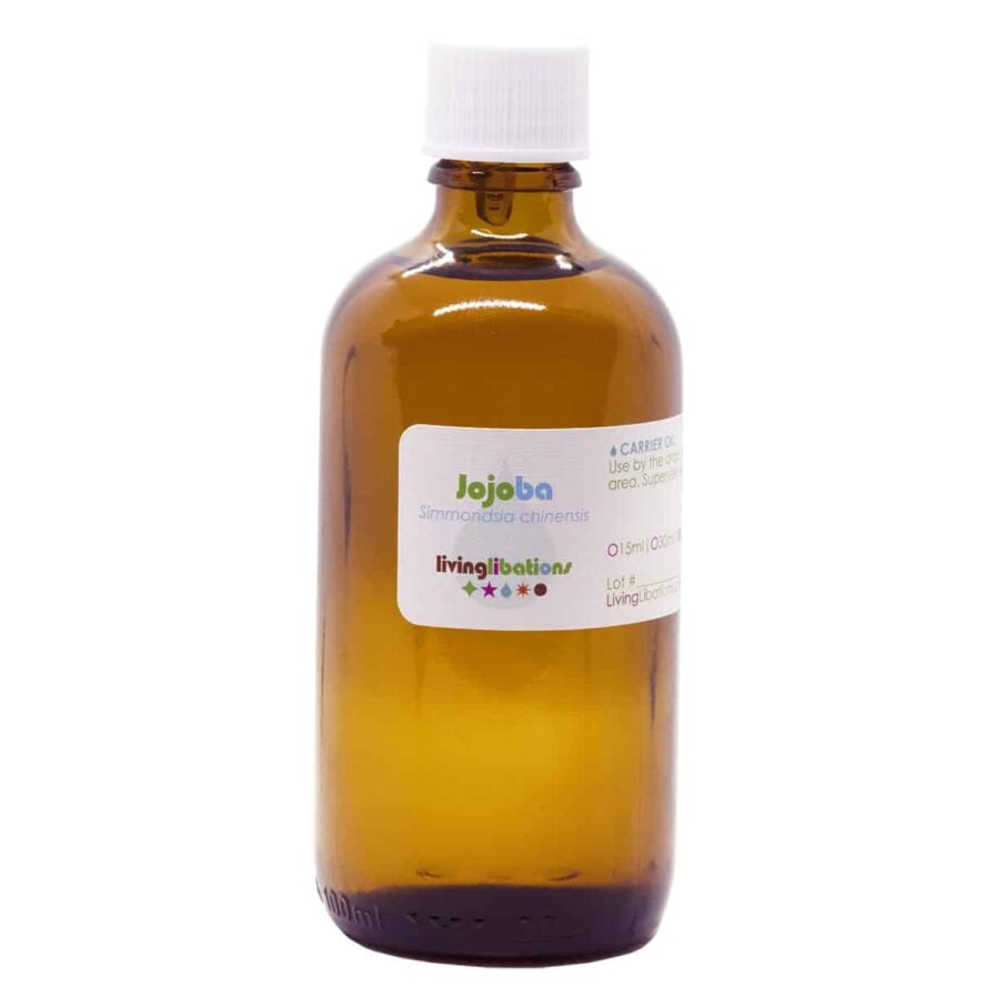 Living Libations Jojoba Oil is organic, cold pressed and the perfect carrier oil or moisturizer for face, body and hair.