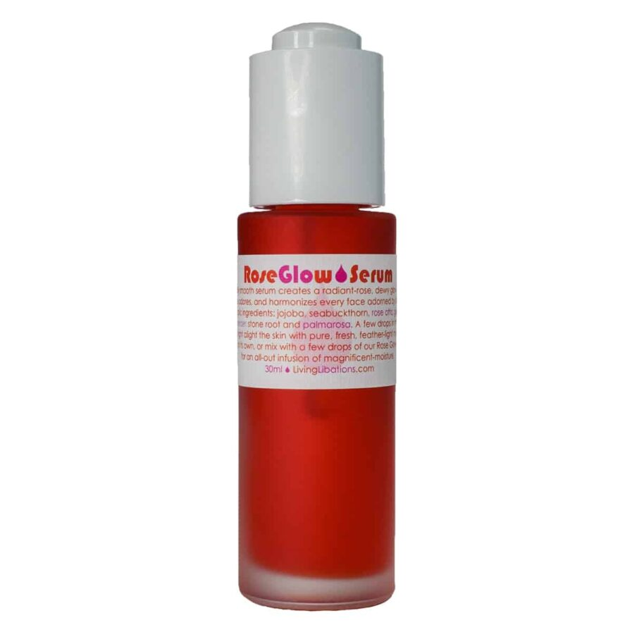 Living Libations Rose Glow Serum to soften and moisturize the skin and smooth lines and texture
