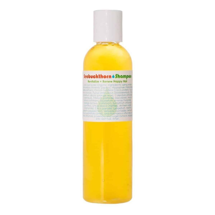 Living Libations Seabuckthorn Shampoo for healthy scalp, soft, manageable and shiny hair. All natural, weightless, removes buildup and great for all hair.