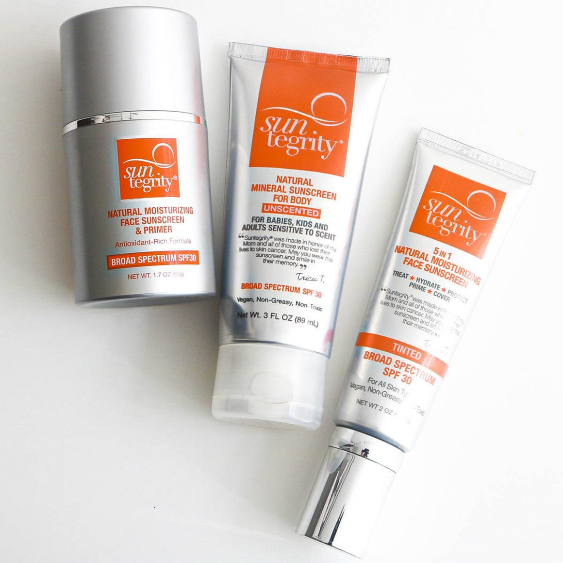 Shop Suntegrity Canada and USA, 5in1 Tinted Face Sunscreen, Face Sunscreen & Primer, Unscented Mineral Body Sunscreen