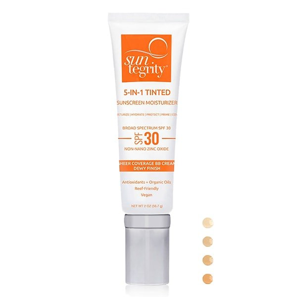 Suntegrity 5 in 1 Tinted Sunscreen Moisturizer is now available in new white packaging (same formula and size)