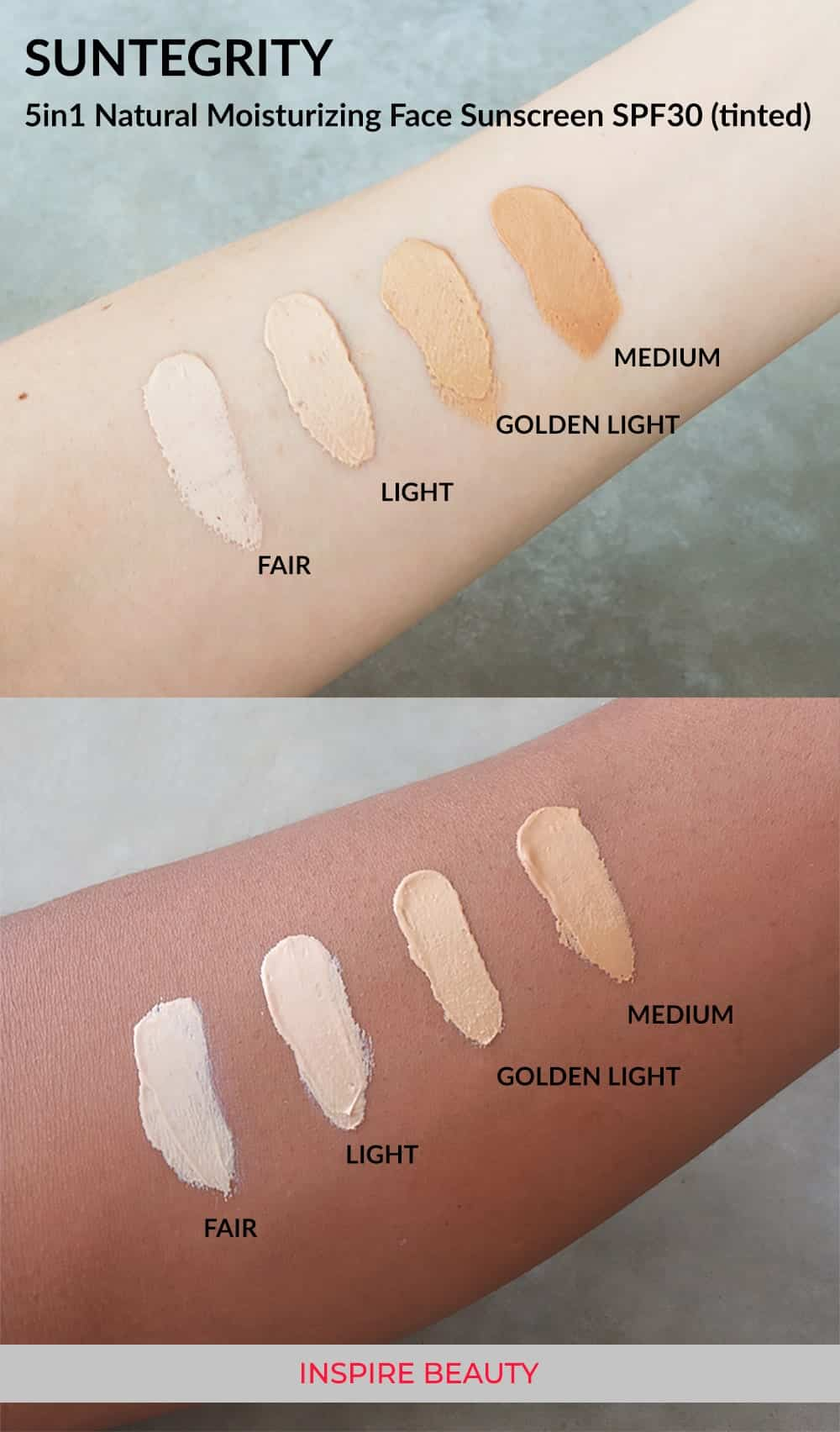 Suntegrity 5 in 1 swatches, shades fair, light golden light and medium on fair and deep skin tones.