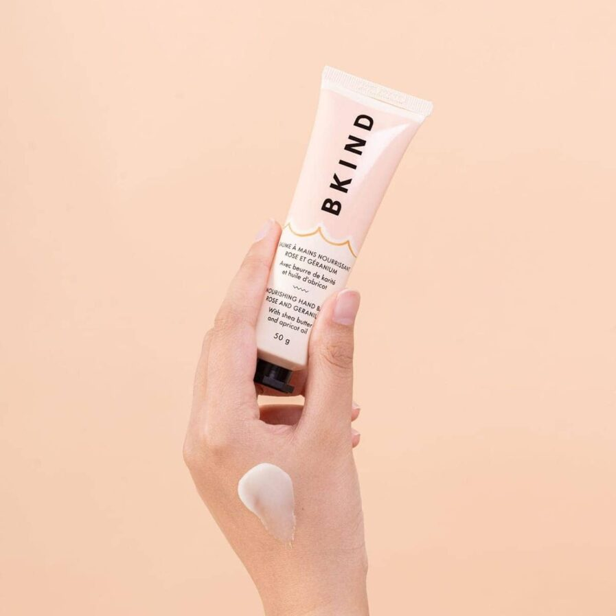 BKIND Rose And Geranium Hand Balm is a non-greasy deeply moisturizing treatment balm to replenish parched skin and and soften hands