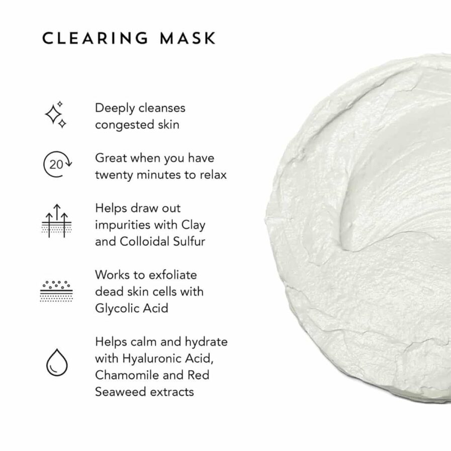 Indie Lee Clearing Mask is a calming and deeply cleansing clarifying facial mask that dissolves surface buildup and debris clogging pores.