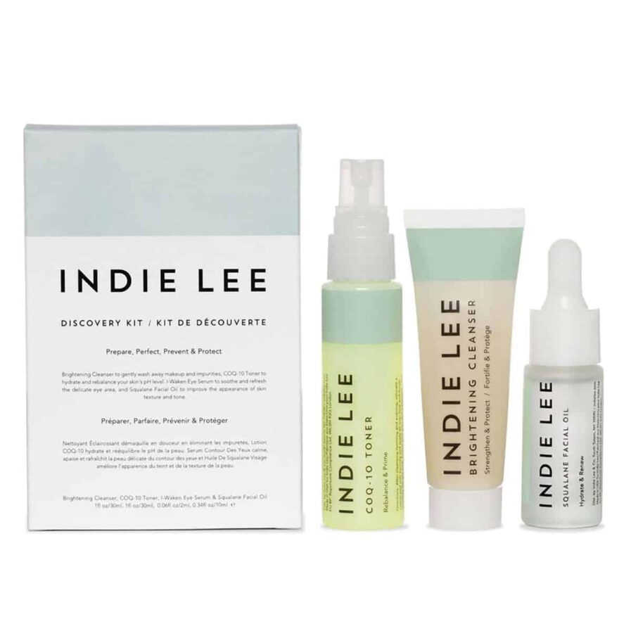 Indie Lee Discovery set is a 3 piece travel friendly kit of Indie Lee bestselling skincare products. The kit contains travel size Brightening Cleanser, CoQ-10 Toner and Squalane Facial Oil.