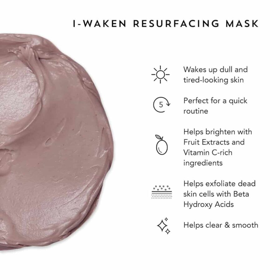 Indie Lee I-Waken Resurfacing Mask is a hydrating exfoliating mask that sloughs off surface build up revealing bright smooth skin.