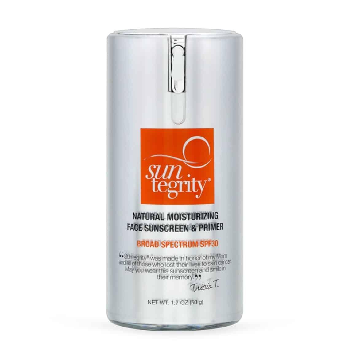 Suntegrity Natural Moisturizing Face Sunscreen & Primer SPF30 broad spectrum, mineral sunscreen, 20% non-nano zinc oxide