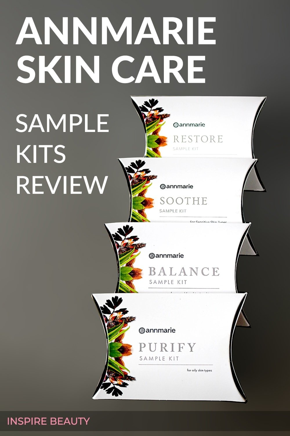 Annmarie Skin Care Sample Kits reviews of Purify, Balance, Restore and Soothe sample kits.