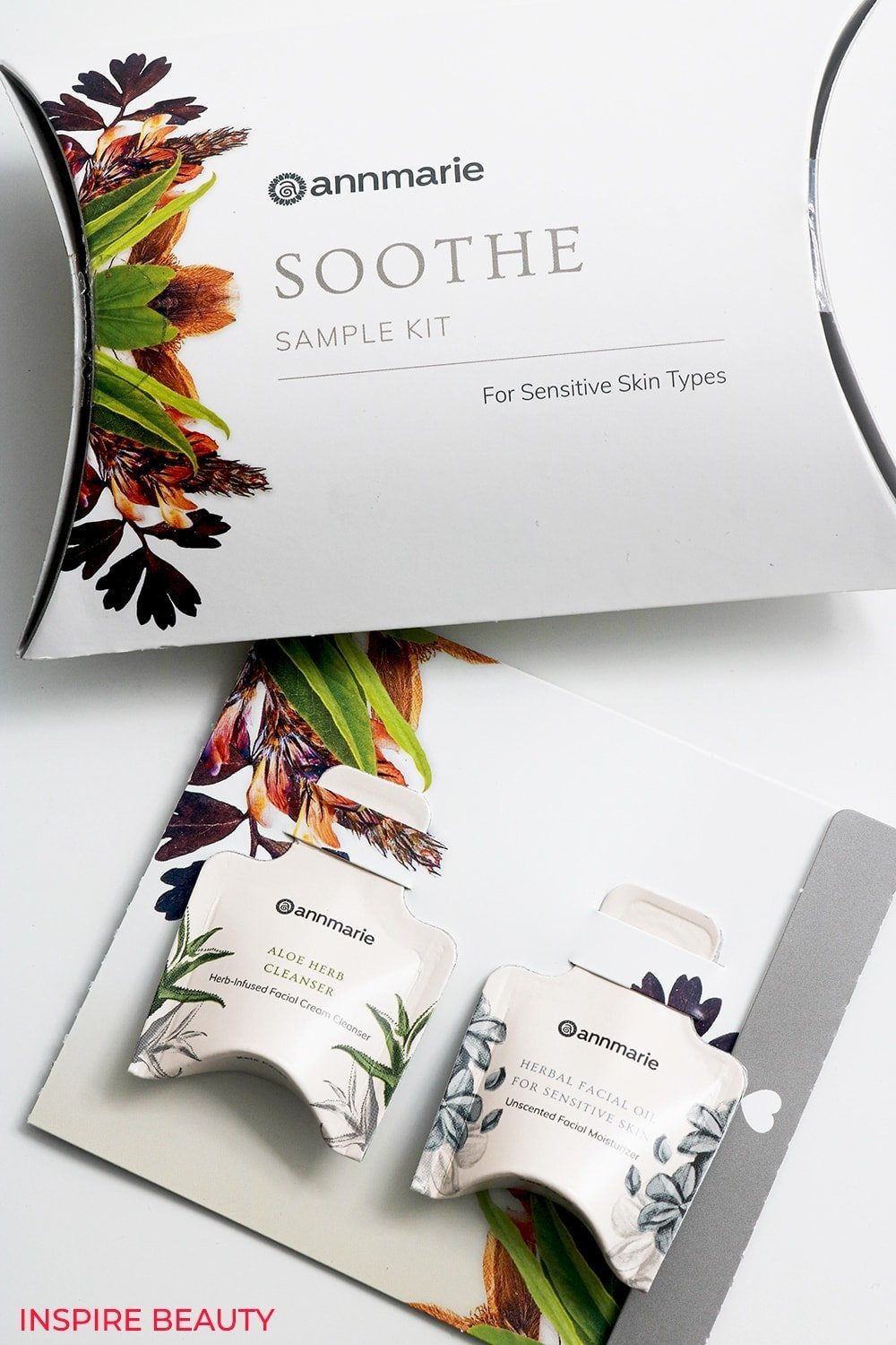Annmarie Skin Care Soothing Sample Kit is calming and nourishing. Aloe Herb Cleanser is mild and gentle, while the Herbal Facial Oil For Sensitive Skin is unscented and essential oil free making it perfect for sensitive skin prone to redness and irritation.