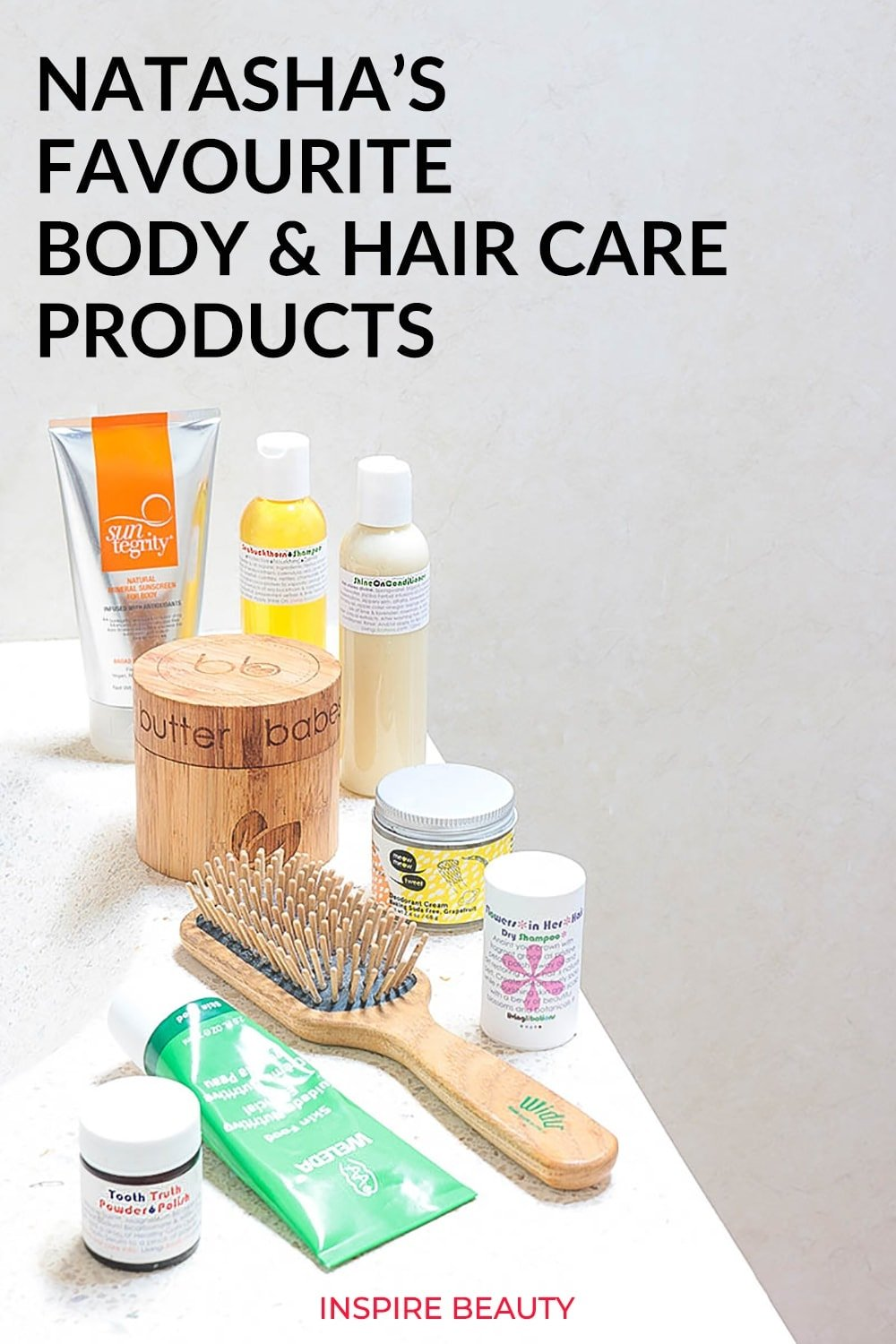 Favorite hair care and body care products from Living Libations, Suntegrity, Bkind, Weleda, Innersense, Meow Meow Tweet