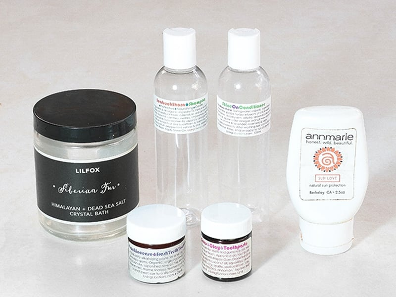 Green Beauty empties review of Living Libations toothpastes, Seabuckthorn Shampoo, Shine On Conditioner, Annmarie Skin Care Sun Love, Lilfox Bath Salts