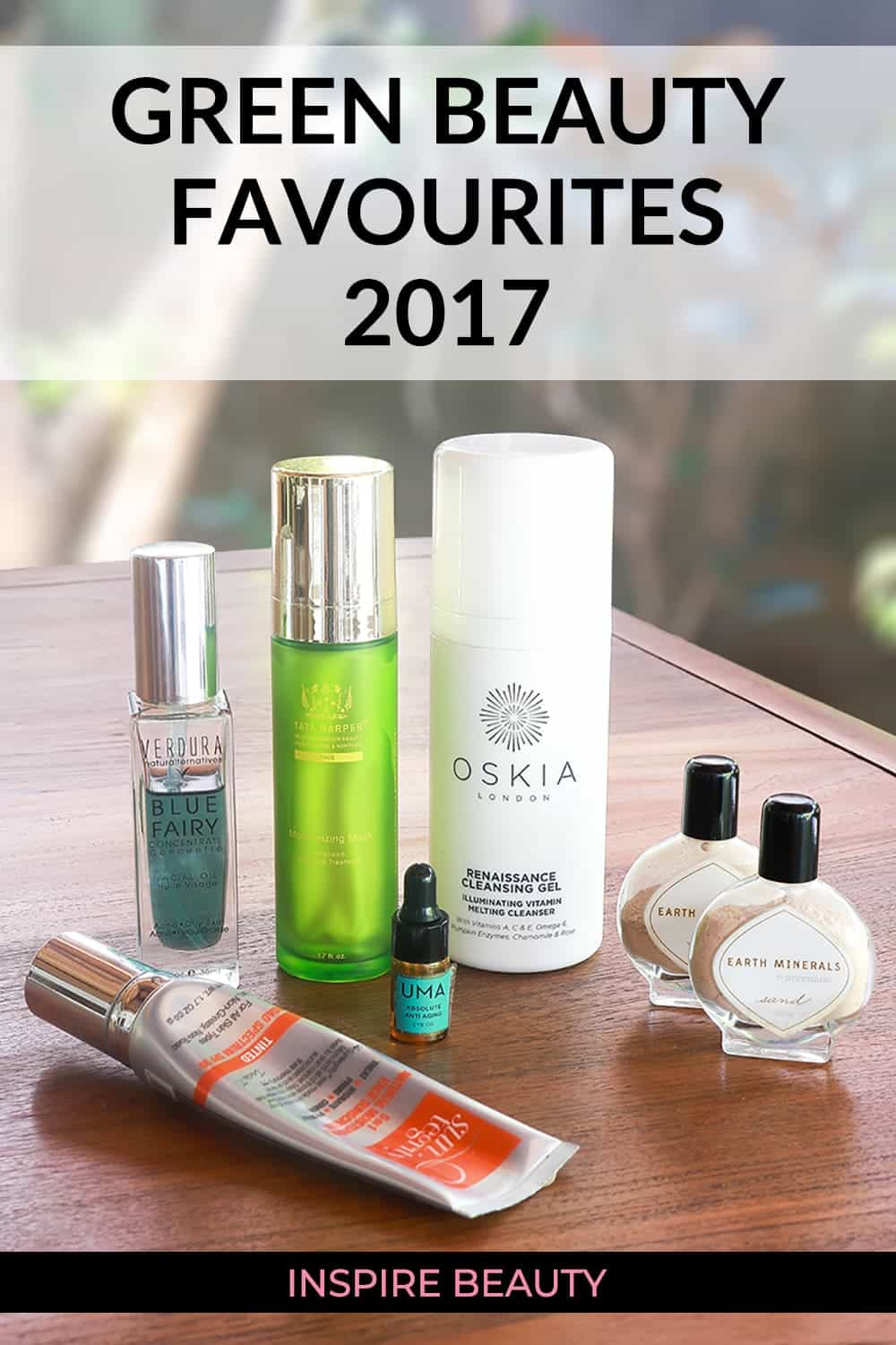 Green beauty favourites review featuring products from Tata Harper, Oskia, Suntegrity, Annmarie Skin Care, VERDURA naturalternatives, and Uma Oils.