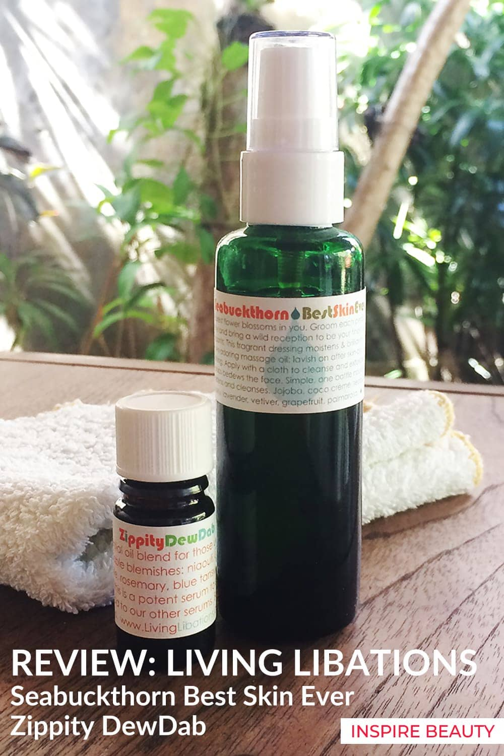 Review of Living Libations skincare routine for acne prone skin featuring Seabuckthorn Best Skin Ever and Zippity DewDab