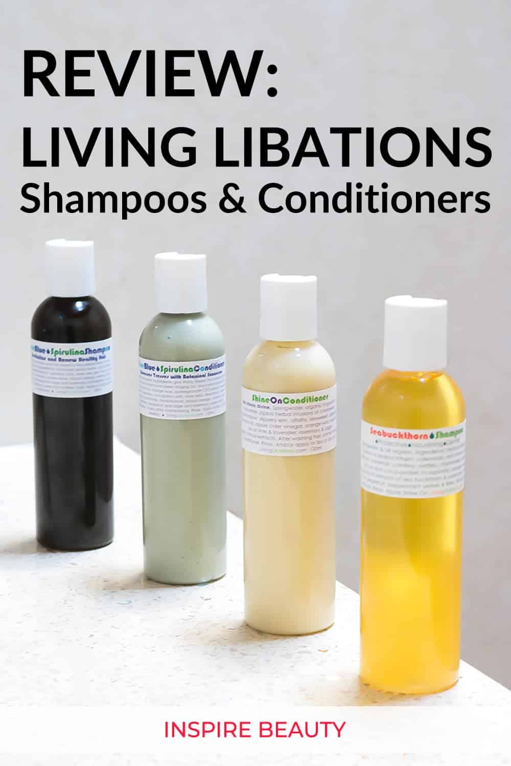 Living Libations shampoo and conditioner review featuring Seabuckthorn Shampoo, Shine On Conditioner, True Blue Spirulina Shampoo and Conditioner.