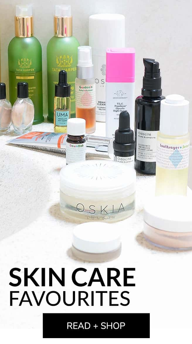 Natasha St. Michael favourite skincare products from Living Libations, Drunk Elephant, Tata Harper, Annmarie Skin Care, Leahlani, Oskia, Odacite, May Lindstrom, Mahalo, RMS Beauty, Kosas
