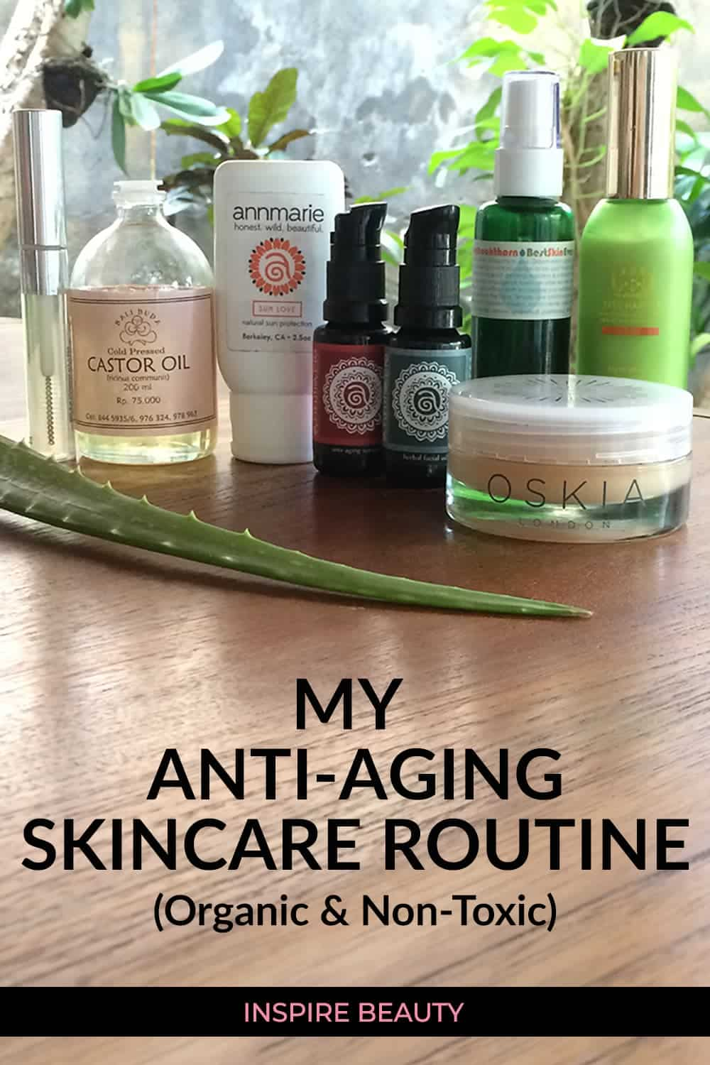 Natasha's natural anti-aging skincare rouitne featuring products from Annmarie Skin Care, Living Libations, Oskia, and Tata Harper.